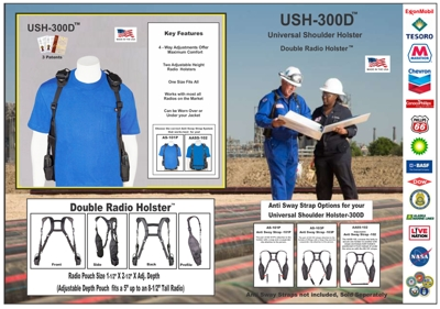 USH 300D Product Info Sheet Sm 200 dpi holsterguy, radio, chest, shoulder, harness, harnesses, holsters